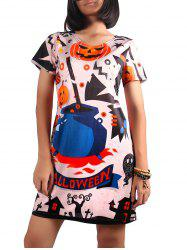 Short Sleeve Pumpkin Print Dress