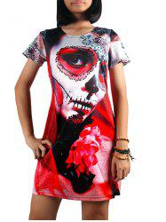 Figure Print A Line Dress - RED XL