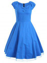 Vintage Cap Sleeve Cocktail Buttoned Swing Dress -