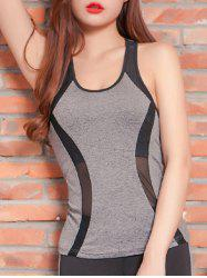 Mesh Spliced Racerback Padded Running Vest - GRAY