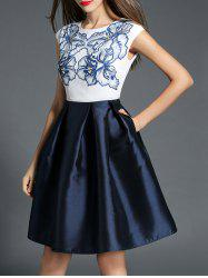 Floral Print High Waist Pocket Design Dress