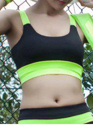 U Neck Strappy Color Block Sporty Bra - NEON GREEN