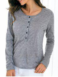 Long Sleeve Front Button Slim Fitting Blouse