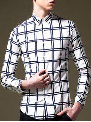Plaid Pattern Long Sleeve Button-Down Shirt -