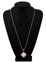 Faux Rammel Geometric Pendant Sweater Chain - WHITE