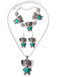 Faux Rammel Elephant Heart Jewelry Set -