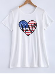 Oversized Flag Pattern Casual Heart Long T-Shirt -