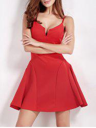 Flounced Mini Slip Party Cocktail Dress - RED