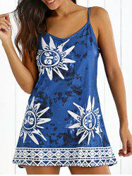 Tribal Print Tie-Dyed Summer Dress - CADETBLUE