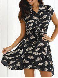 Leaf Print High Waist Cap Sleeve Casual Dress