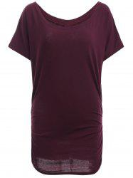 Boat Neck Dolman Sleeve Ruched T-Shirt -