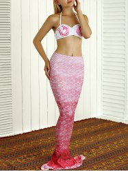 Halter Bikini Top and Colorful Mermaid Tail Two Piece Swimsuit - PINK XL