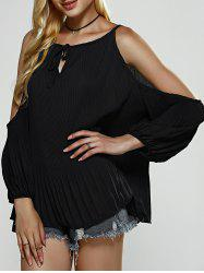 Drawstring Cold Shoulder Pleated Loose Blouse -