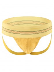 Striped Wide Waistband Skinny Double G-Strings - YELLOW