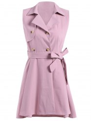 Sleeveless Double-Breasted Dovetail Trench Dress -