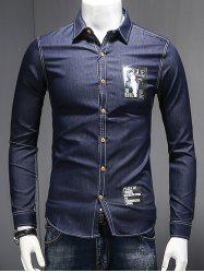 Turn-Down Collar Letters and Figure Print Long Sleeve Chambray Shirt - DEEP BLUE 2XL