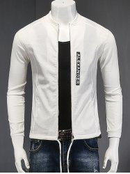 Stand Collar Zipper-Up Letter Printed Cotton Linen Jacket - WHITE L