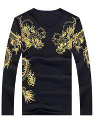 Totem Print Round Neck Long Sleeve T-Shirt - BLACK