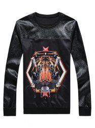 3D Tiger Print Spliced Round Neck Long Sleeve Sweatshirt