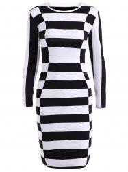 Long Sleeve Stripe Sheath Dress -