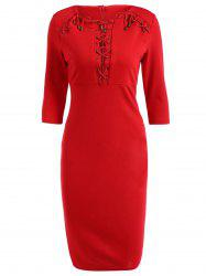 Lace Up Pencil Dress - RED 2XL