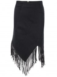 Chic High Waist Fringed Asymmetric Women's Skirt -