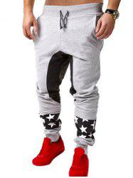 Star Patchwork Drop Crotch Joggers - LIGHT GRAY