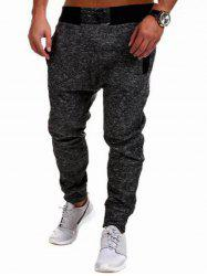 Contrast Waistband Drop Crotch Joggers - DEEP GRAY