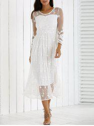 Guipure Mesh Laciness Dress - WHITE