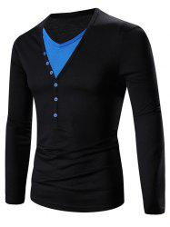 Faux Twinset V-Neck Color Block Splicing Design Long Sleeve T-Shirt - BLUE AND BLACK 2XL