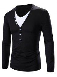 Faux Twinset V-Neck Color Block Splicing Design Long Sleeve T-Shirt