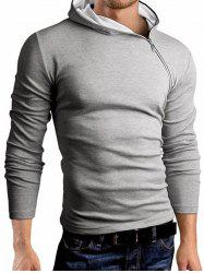 Hooded Oblique Zipper Design Long Sleeve T-Shirt -