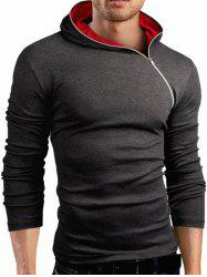 Hooded Oblique Zipper Design Long Sleeve T-Shirt - DEEP GRAY