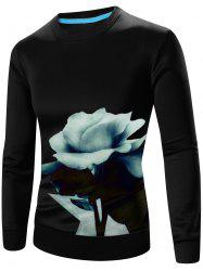 3D Floral Print Crew Neck Long Sleeve Sweatshirt - BLACK 3XL