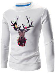 3D Elk Imprimer Crew Long Neck Sweatshirt manches -