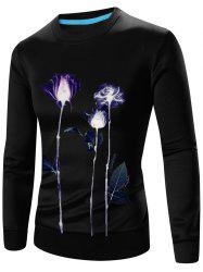 Crew Neck Long Sleeve 3D Floral Print Sweatshirt