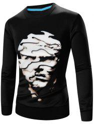 Crew Neck Long Sleeve Abstract 3D Face Print Sweatshirt - BLACK 3XL