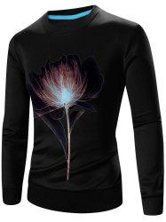 Crew Neck Long Sleeve 3D Flower Print Sweatshirt -