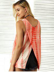 V Neck Sleeveless Tie-Dyed T-Shirt -