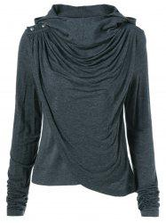 Ruched Asymmetrical Hoodie -