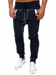 Color Block Drawstring Drop Crotch Joggers