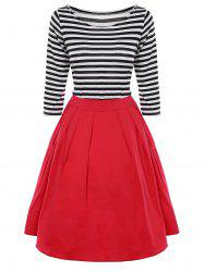Striped Pleated A Line Dress - BLACK AND WHITE AND RED 3XL