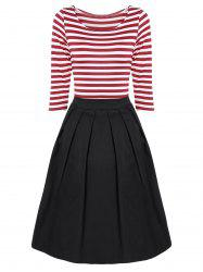 Striped Pleated A Line Dress - RED WITH WHITE M