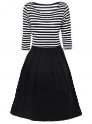 Striped Pleated A Line Dress - WHITE AND BLACK