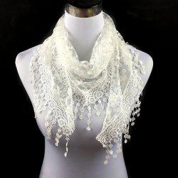 Casual Wintersweet Embroidery Tassel Triangle Trim Lace Scarf -