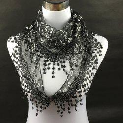 Casual Wintersweet Embroidery Tassel Triangle Trim Lace Scarf - BLACK