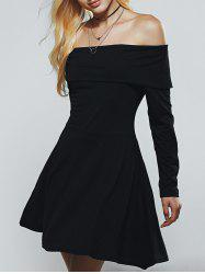 Off The Shoulder Long Sleeves A Line Skater Dress