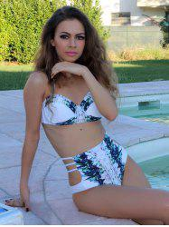 High Waist Halter Printed Bikini Set
