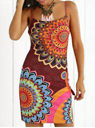Spaghetti Illusion Floral Print Strap Dress - Multicolore