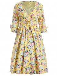 Shawl Collar Floral Swing Wrap Dress - YELLOW 2XL